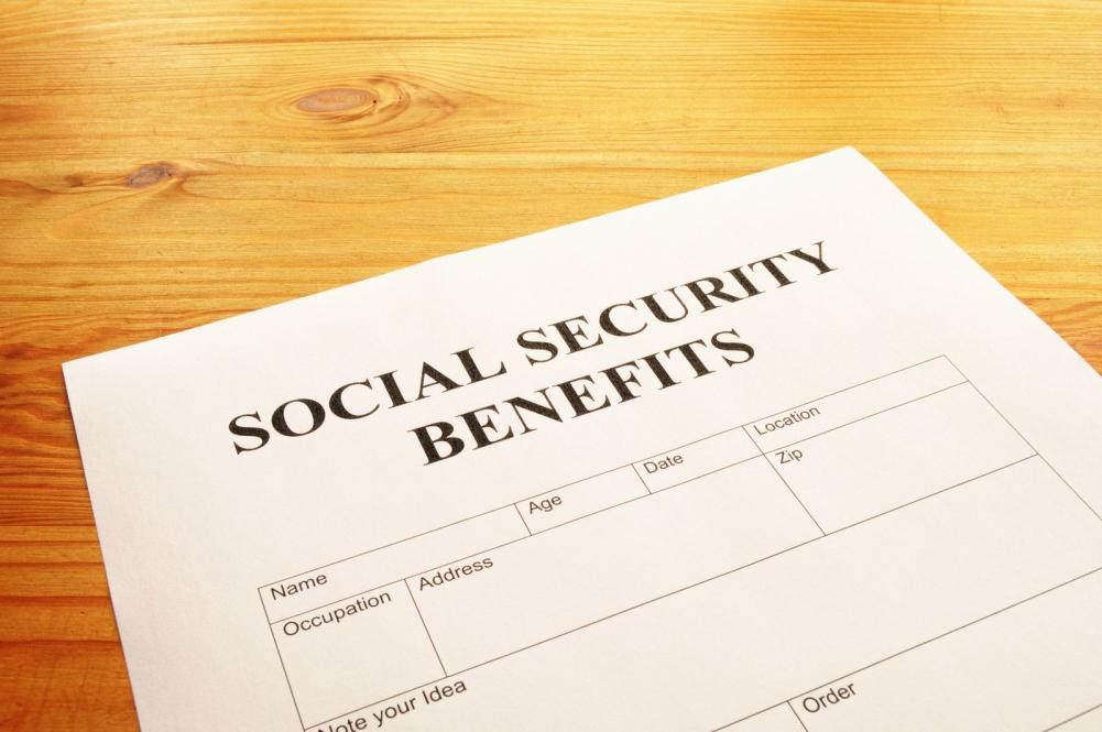 A social security benefits form for disability payments.