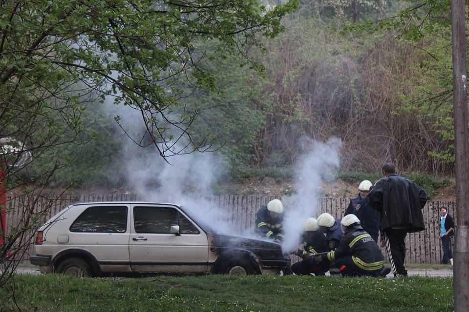 A car with smoke coming out