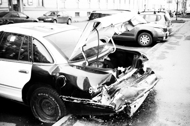 A car parked after an accident